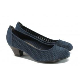 Дамски обувки на среден ток - естествена кожа с перфорация - сини - EO-5697