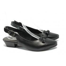 Дамски сандали - естествена кожа - черни - EO-5698