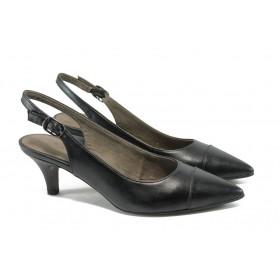Дамски обувки на среден ток - висококачествена еко-кожа - черни - EO-5708