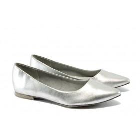 Равни дамски обувки - висококачествена еко-кожа - сребро - EO-5709