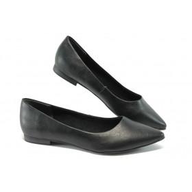Равни дамски обувки - висококачествена еко-кожа - черни - EO-5711