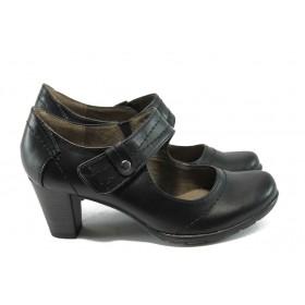 Дамски обувки на среден ток - естествена кожа - черни - EO-5699