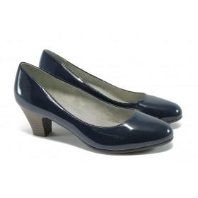 Дамски обувки на среден ток - еко кожа-лак - тъмносин - EO-5717