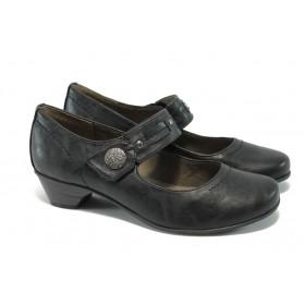 Дамски обувки на среден ток - висококачествена еко-кожа - черни - EO-5720