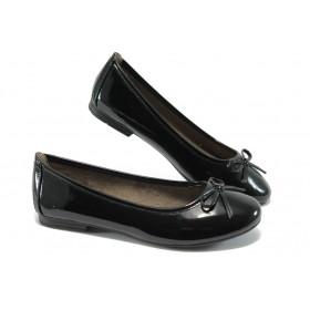 Равни дамски обувки - еко кожа-лак - черни - EO-5714