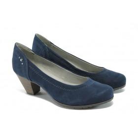 Дамски обувки на среден ток - висококачествен еко-велур - сини - EO-5715