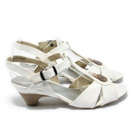 Дамски сандали - висококачествена еко-кожа - бели - EO-5732