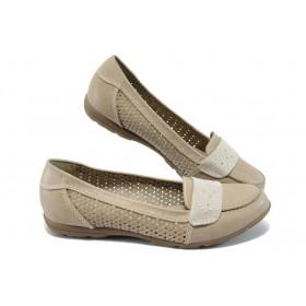 Равни дамски обувки - висококачествена еко-кожа - бежови - EO-5722