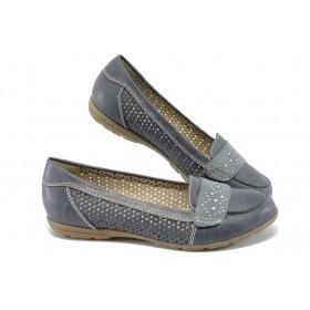 Равни дамски обувки - висококачествена еко-кожа - сини - EO-5721