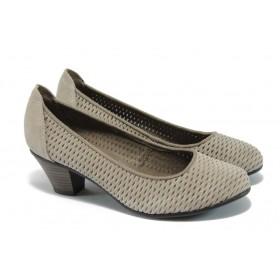 Дамски обувки на среден ток - естествена кожа с перфорация - сиви - EO-5713