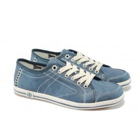 Равни дамски обувки - висококачествена еко-кожа - сини - EO-5723