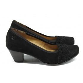 Дамски обувки на среден ток - естествен велур - черни - EO-5724