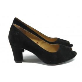 Дамски обувки на среден ток - естествен велур - черни - EO-5725