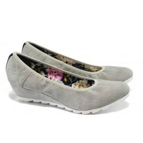 Дамски обувки на платформа - висококачествена еко-кожа - сиви - EO-5727