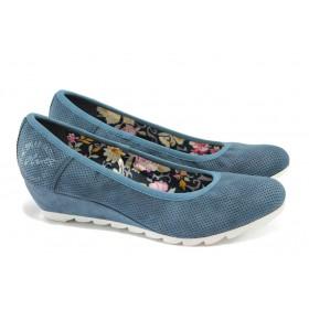 Дамски обувки на платформа - висококачествена еко-кожа - сини - EO-5728