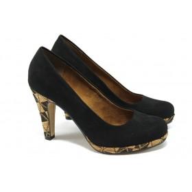 Дамски обувки на висок ток - висококачествен еко-велур - черни - EO-5731