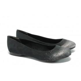 Равни дамски обувки - висококачествен еко-велур - черни - EO-5730