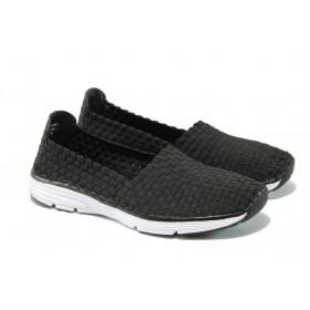 Равни дамски обувки - висококачествен текстилен материал - черни - EO-5738