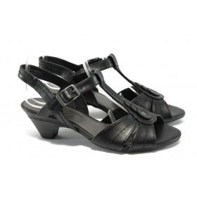Дамски сандали - висококачествена еко-кожа - черни - EO-5734