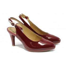 Дамски обувки на висок ток - естествена кожа-лак - бордо - EO-5735