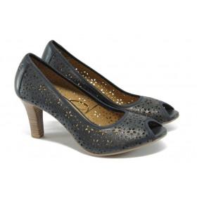 Дамски обувки на висок ток - естествена кожа с перфорация - сини - EO-5737