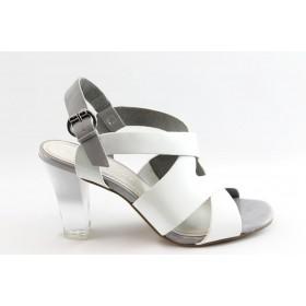 Дамски сандали - еко кожа-лак - бели - EO-3139