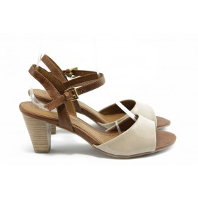 Дамски сандали - висококачествена еко-кожа - бежови - EO-6008