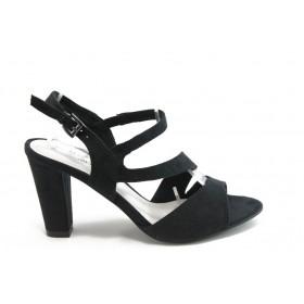 Дамски сандали - висококачествен текстилен материал - черни - EO-3342