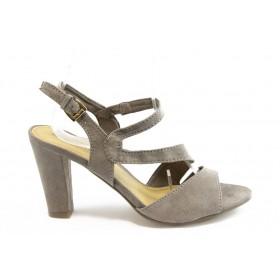 Дамски сандали - висококачествен текстилен материал - бежови - EO-3346