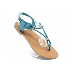 Дамски сандали - естествена кожа - сини - EO-3343