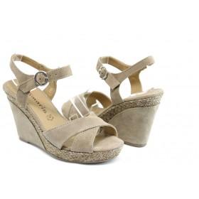 Дамски сандали - естествен набук - бежови - EO-3400