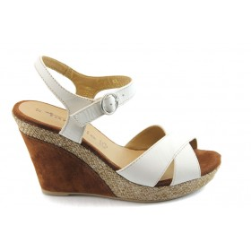 Дамски сандали - естествена кожа - бели - EO-3401