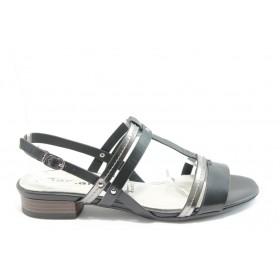 Дамски сандали - естествена кожа - черни - EO-3418