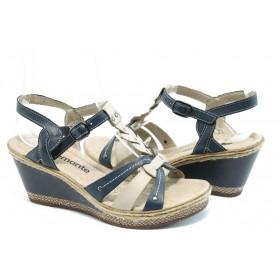 Дамски сандали - естествена кожа - сини - EO-3419