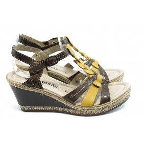 Дамски сандали - естествена кожа - кафяви - EO-3432