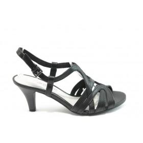 Дамски сандали - висококачествена еко-кожа - черни - EO-3468