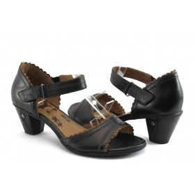 Дамски сандали - естествена кожа - черни - EO-3431