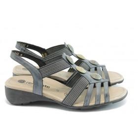 Дамски сандали - естествена кожа - черни - EO-3492