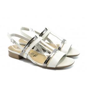 Дамски сандали - естествена кожа - бели - EO-3494