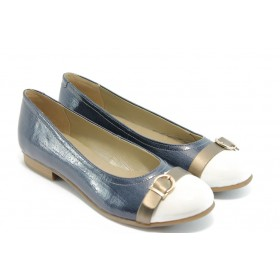 Равни дамски обувки - еко кожа-лак - сини - EO-3496
