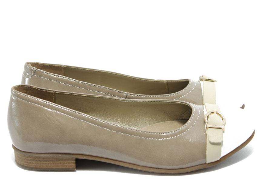 Равни дамски обувки - естествена кожа-лак - бежови - EO-3512