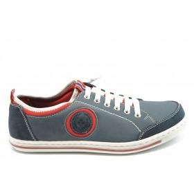 Спортни мъжки обувки - естествена кожа - сини - EO-3409