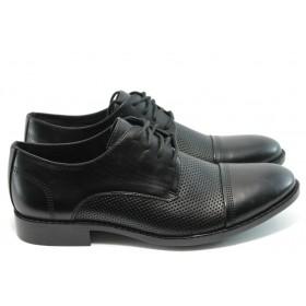 Елегантни мъжки обувки - естествена кожа - черни - EO-3516