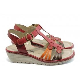 Дамски сандали - естествена кожа - червени - EO-3499