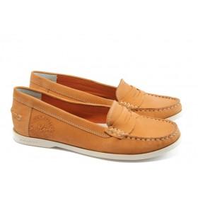 Мокасини - естествена кожа - оранжеви - EO-3497