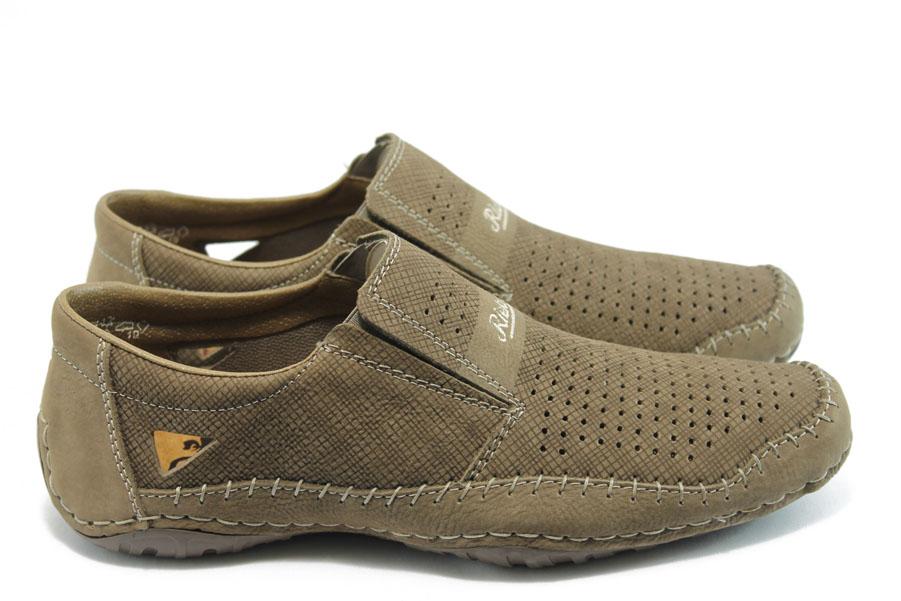 Мъжки обувки - естествена кожа с перфорация - кафяви - EO-3518