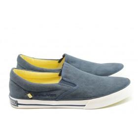 Спортни мъжки обувки - висококачествен текстилен материал - сини - EO-3583
