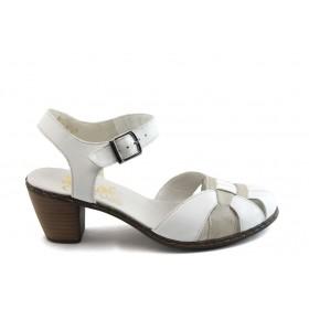 Дамски обувки на среден ток - естествена кожа - бели - EO-5824