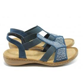 Дамски сандали - висококачествен текстилен материал - сини - EO-3630