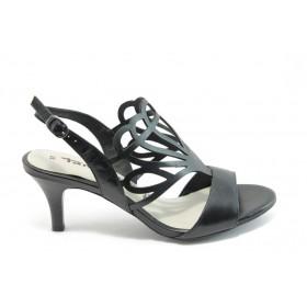 Дамски сандали - естествена кожа - черни - EO-3629